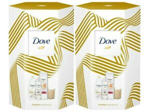Dove 2x Geschenkset Duschgel Deospray Body Lotion mit Duftkerze Damen Pflegeset