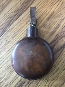 Vintage Leather Glass Saddle Riding Flask.