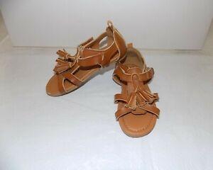 H&M Girls Brown Tan Gladiator Sandals Tassels Shoes Toddler Sz 9.5 VGC