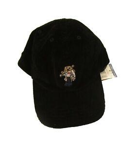 Polo Ralph Lauren Boys Black Embroidered Ski Polo Bear Corduroy Hat