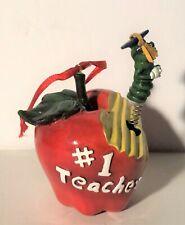 #1 Teacher Apple with Cute Worm Graduate Christmas Ornament Charity