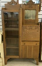 Antique Secretary Desk Hutch Cabinet Bookcase Curio Mirror Drop Front