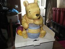 """Disney CLASSIC WINNIE THE POOH LARGE Ceramic Coin Piggy Bank Hunny Bee 9"""" Tall"""