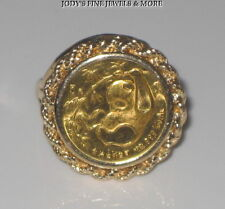 EXQUISITE 1985 14K YELLOW GOLD SETTING 24 KT PURE GOLD CHINESE PANDA COIN RING