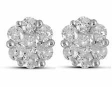1ct Round Cut Diamond Flower Cluster Stud Earrings Women 14k Yellow Gold Over
