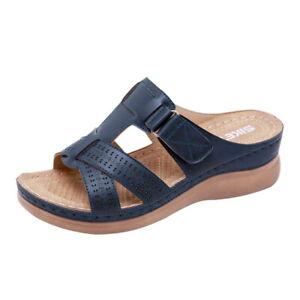Women Slipper Orthopedic Wedge Heel Slip On Open Toe Mules Summer Sandal Shoes