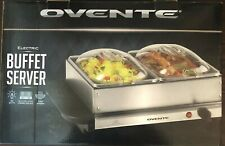 Ovente Electric Buffet Server with 2 warming pans & stainless steel frame