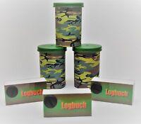 3x Geocaching Versteck, Filmdosen mit Tarnaufkleber grün + Logbuch, Logbücher