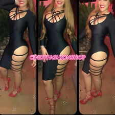 Women Fashion Sexy Long Sleeve Bandage Hollow Out Club Body con Party Dress #SC
