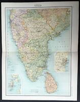 1890 Bartholomew Large Antique Map Southern India Ceylon inset Madras & Bombay