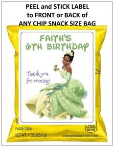 8 PRINCESS AND THE FROG TIANA BIRTHDAY PARTY Chip Snack Bag Label Personalized