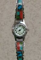 "Multi Gemstone Inlay Sterling Silver Band Watch W/Toggle 6"" Wrist New Battery"
