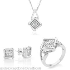 GENUINE DIAMOND PRINCESS WEDDING ENGAGEMENT RING EARRINGS NECKLACE SZ 7 SALE!