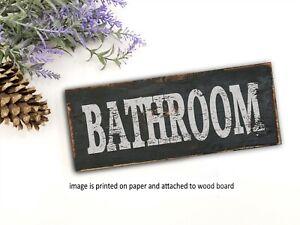 Bathroom Sign BATHROOM Hanging Primitive Country Distressed Home Decor