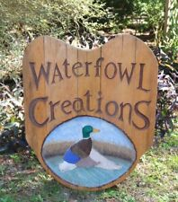 Large Duck Waterfowl Hand Carved Wooden Taxidermy Sign