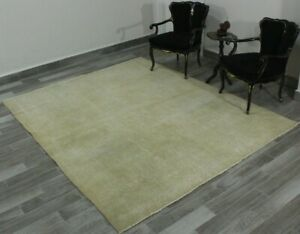 Beige Color Area Rug Turkish Vintage Bohemian Anatolian Oushak Wool Carpet 7x8ft