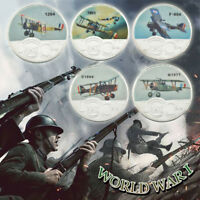 Aircraft First World War Model Commemorative Coin Collection Gifts 5PCS Sets