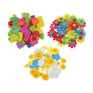 180pcs Colorful Foam Heart Flower Sun Clouds Shapes Foam Stickers DIY Craft