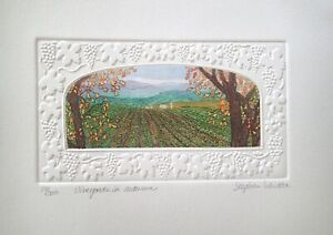 "Stephen Whittle "" Vineyards in Autumn"" S/N etching Vineyards with grapevines"