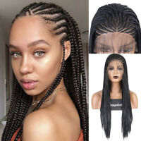 Micro Braided Box Braids Long Black Braiding Synthetic Lace Front Wigs for Women