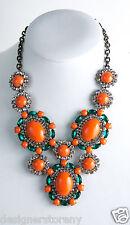 Kenneth Jay Lane Gunmetal/Crystal coral emerald bib necklace