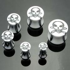 1 Pair Acrylic 6g White Black Skull Saddle Plugs 4mm Ear Gauges Double Flared