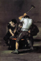 Stunning Oil painting Francisco de Goya - The Forge Young Workers canvas