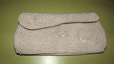 Vintage Ivory Off White Beaded Purse Clutch Bag Different, Elegant