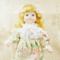"""Vintage 16"""" Porcelain Doll Blond Curls Hair Spring Dress Stand"""