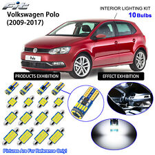 10 Bulbs LED Interior Light Kit Cool White For Volkswagen Polo 6R (With Sunroof)