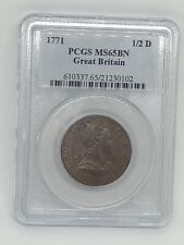 1771 GREAT BRITAIN KING GEORGE III 1/2D PCGS MS 65 BN COPPER HALFPENNY -RARE!
