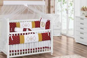 Royal Crown Teddy Bear Theme Red/Gold Baby Girl 6pc Nursery Crib Bedding Set