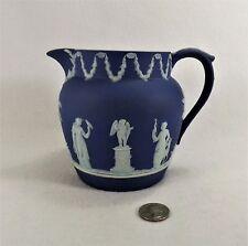 "Beautiful Wedgwood Dark Blue Jasperware Dutch Sacrifice Jug 4 7/8"" Muses 24 oz"