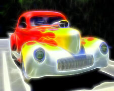 Yellow Flames On A Red Hot Car by Floyd Snyder Vintage Classic Car Canvas