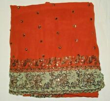 Vintage Indian bollywood Ethnic Women Floral Zari Boder work Orange colour saree