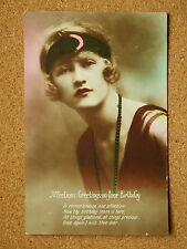 R&L Postcards: Pretty Birthday Greetings/Glamour Girl, Colour Tinted Art Deco