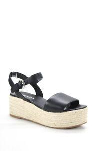 Prada Womens Platform Ankle Strap Sandals Espadrilles Black Leather Size 37