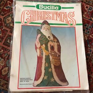 "Bucilla Needlepoint Kit Antique Santa Needlepoint 16"" Doll - NEW 60685"