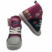 Peppa Pig Girls Hi Top Denim Toddler Shoes Sneakers Pink Size 7 New $49.99