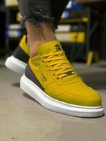 Neuf Knack 040 Jaune Baskets Homme Chaussures de Sport Chaussures de Loisir