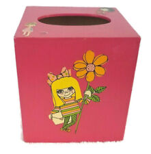 Vintage wooden Tissue Box Cover Pink Retro Appliques 70s retro flower power