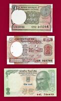LOT OF 3 INDIA UNC NOTES: 1 Rupiah 2017 2 Rupee , 1976 P-79, & 5 Rupee 2009 P-88