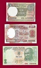 LOT OF 3 INDIA UNC NOTES: 1 Rupiah 2017 2 Rupee , 1976 P-79, & 5 Rupee 2009 P-88