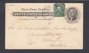 USA 1900 1C BUREAU ISSUE UPRATED 1C PS CARD PHILADELPHIA PA TO VIENNA AUSTRIA