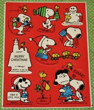 VINTAGE HALLMARK PEANUTS GANG SNOOPY~LUCY~WOODSTOCK CHRISTMAS STICKERS SHEET