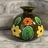 Vintage Bud Vase Brown Raised Floral Design FLAW Retro 70s