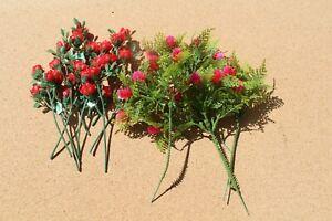 Lot of Vintage Plastic Red Roses & Flowers Pink Flowers Crafting Hong Kong