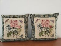 Pair Vintage Pink Hydrangea Floral Butterfly Needlepoint Pillows Square 17in