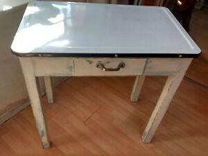 1950s White Enamel Top wooden Kitchen Table