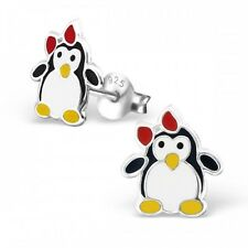 Childrens Girls Kids Sterling Silver Penguin with Red Bow Stud Earrings - Boxed